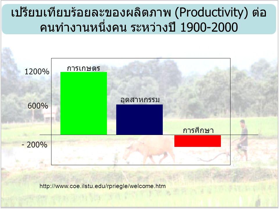 เปรียบเทียบร้อยละของผลิตภาพ (Productivity) ต่อคนทำงานหนึ่งคน ระหว่างปี 1900-2000