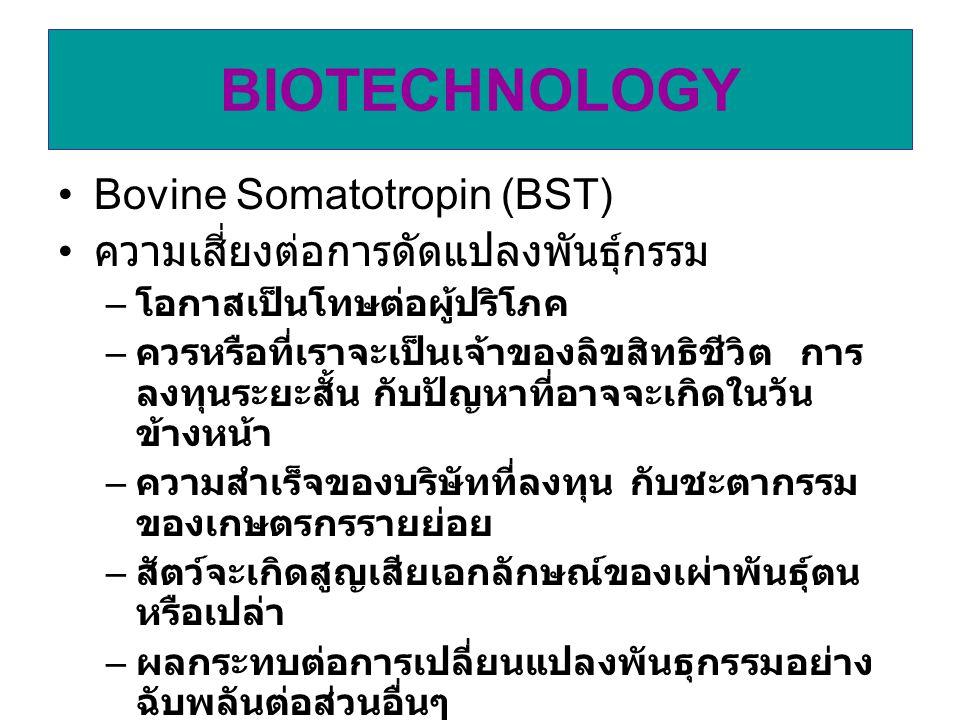 BIOTECHNOLOGY Bovine Somatotropin (BST)