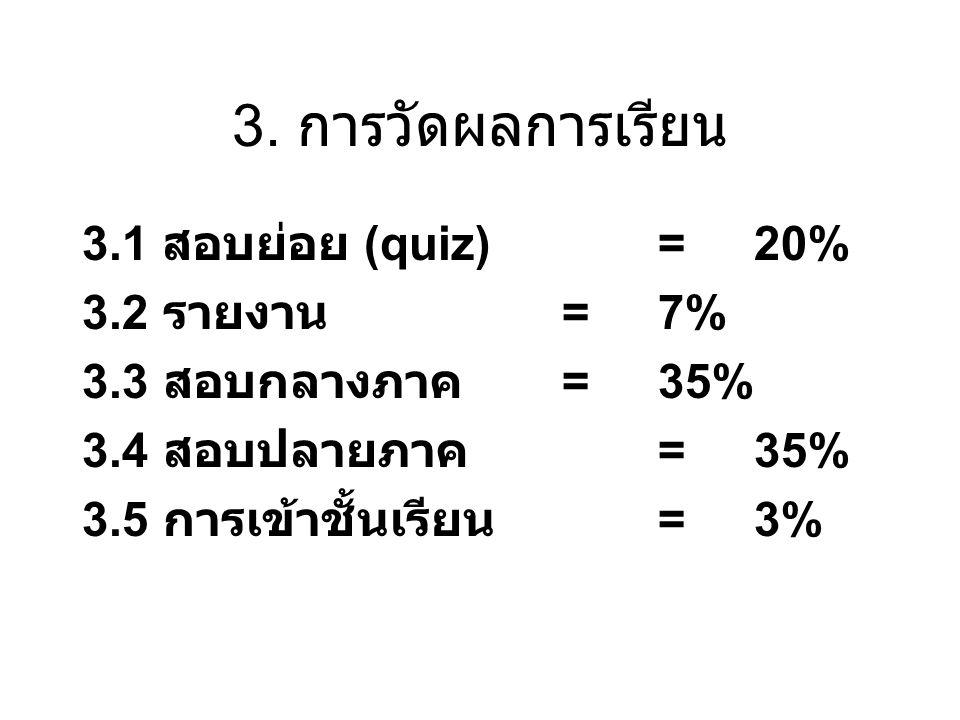 3. การวัดผลการเรียน 3.1 สอบย่อย (quiz) = 20% 3.2 รายงาน = 7%