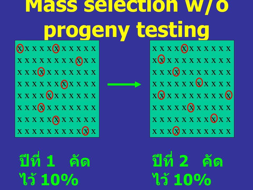 Mass selection w/o progeny testing