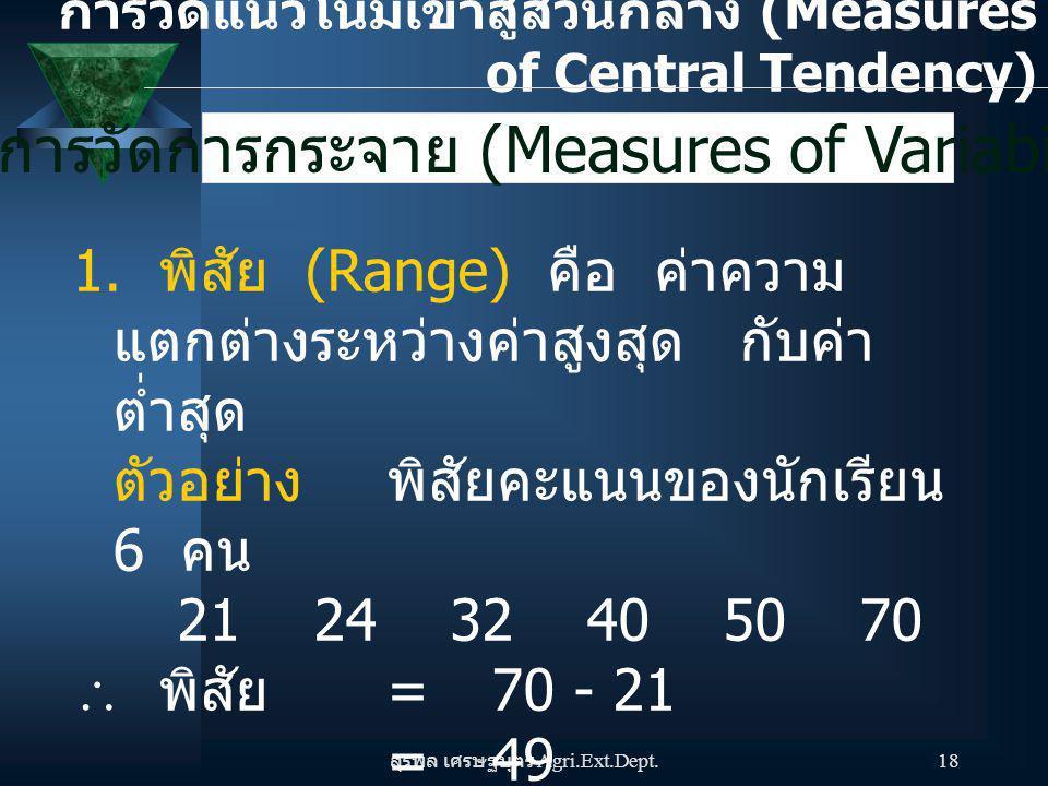 การวัดการกระจาย (Measures of Variability)