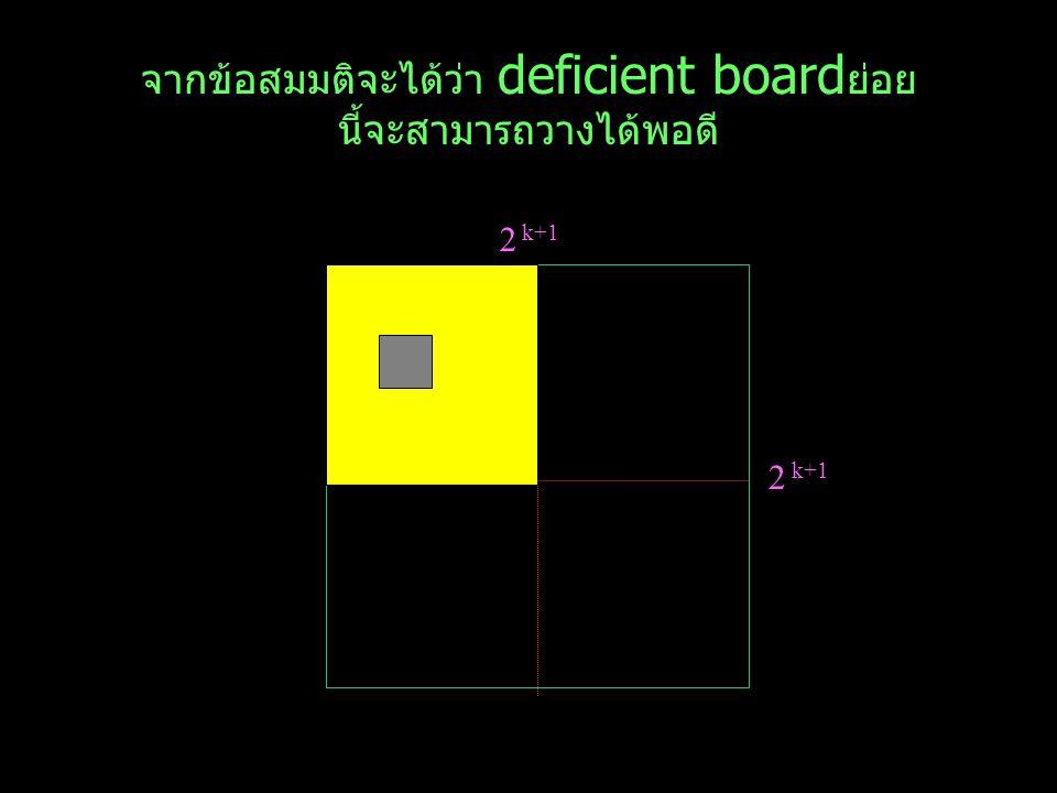 จากข้อสมมติจะได้ว่า deficient boardย่อย นี้จะสามารถวางได้พอดี