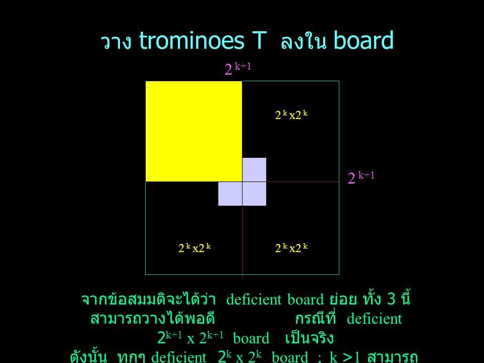 วาง trominoes T ลงใน board