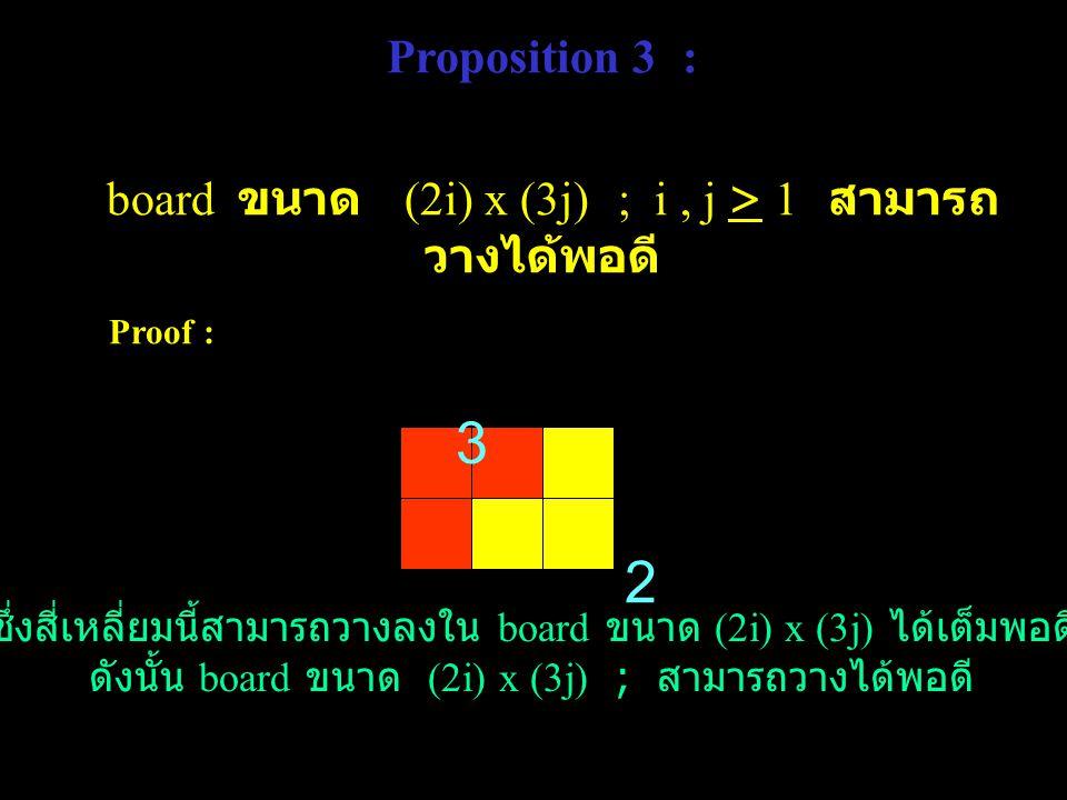 Proposition 3 : board ขนาด (2i) x (3j) ; i , j > 1 สามารถวางได้พอดี Proof : 3. 2.