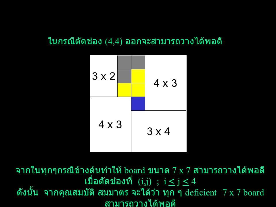 3 x 2 4 x 3 4 x 3 3 x 4 ในกรณีตัดช่อง (4,4) ออกจะสามารถวางได้พอดี
