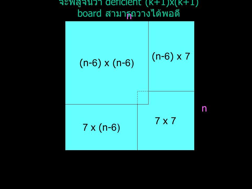 จะพิสูจน์ว่า deficient (k+1)x(k+1) board สามารถวางได้พอดี
