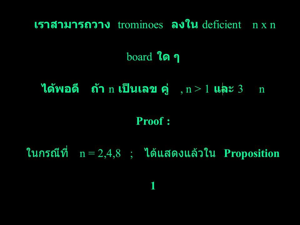 เราสามารถวาง trominoes ลงใน deficient n x n board ใด ๆ