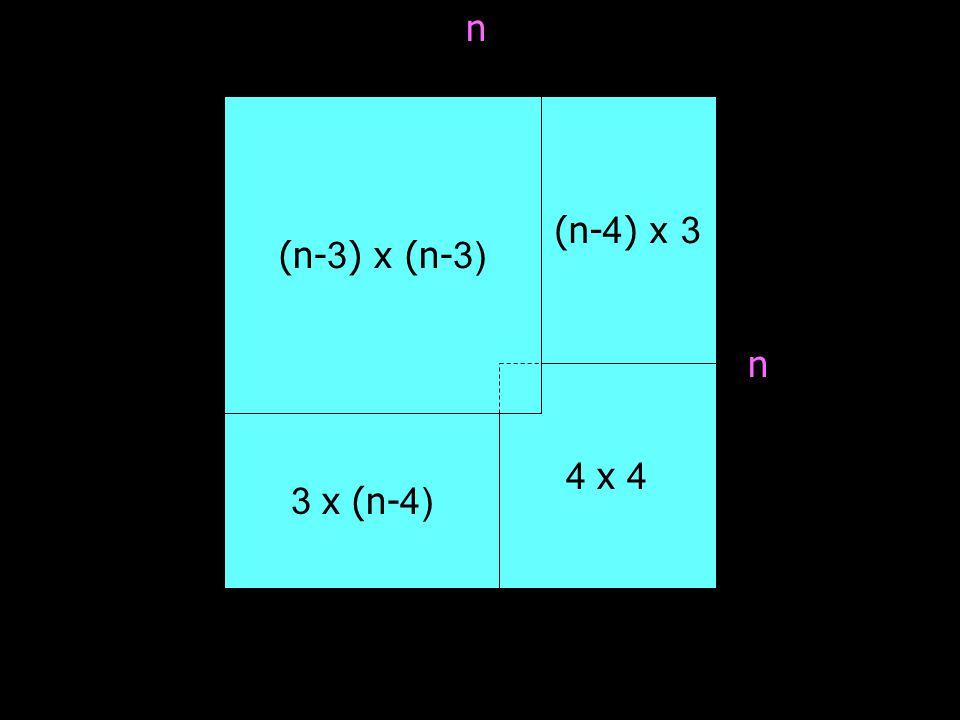 n (n-3) x (n-3) (n-4) x 3 n 4 x 4 3 x (n-4)