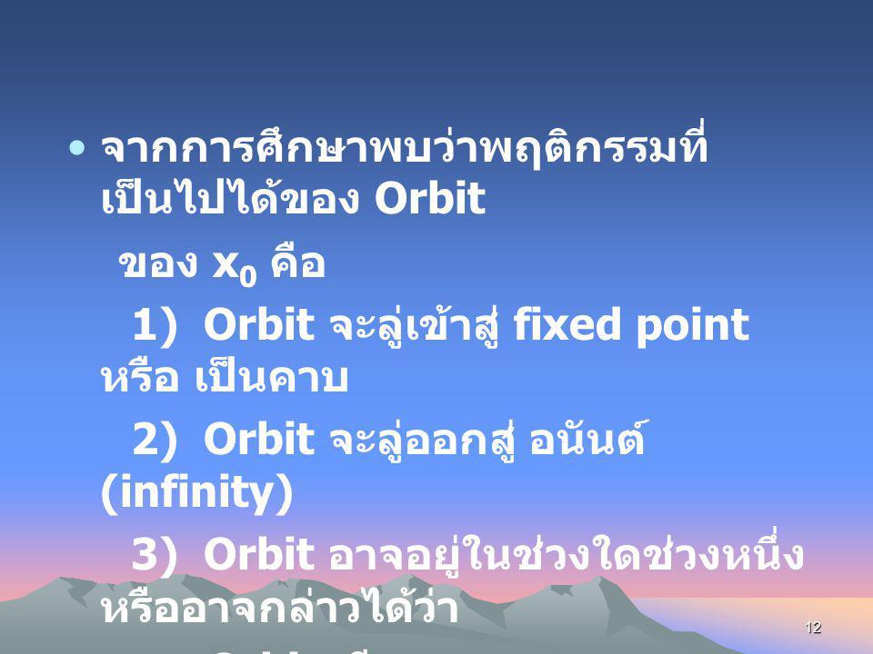 จากการศึกษาพบว่าพฤติกรรมที่เป็นไปได้ของ Orbit