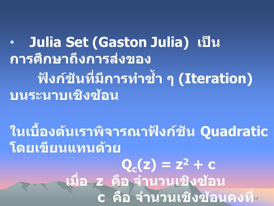Julia Set (Gaston Julia) เป็นการศึกษาถึงการส่งของ