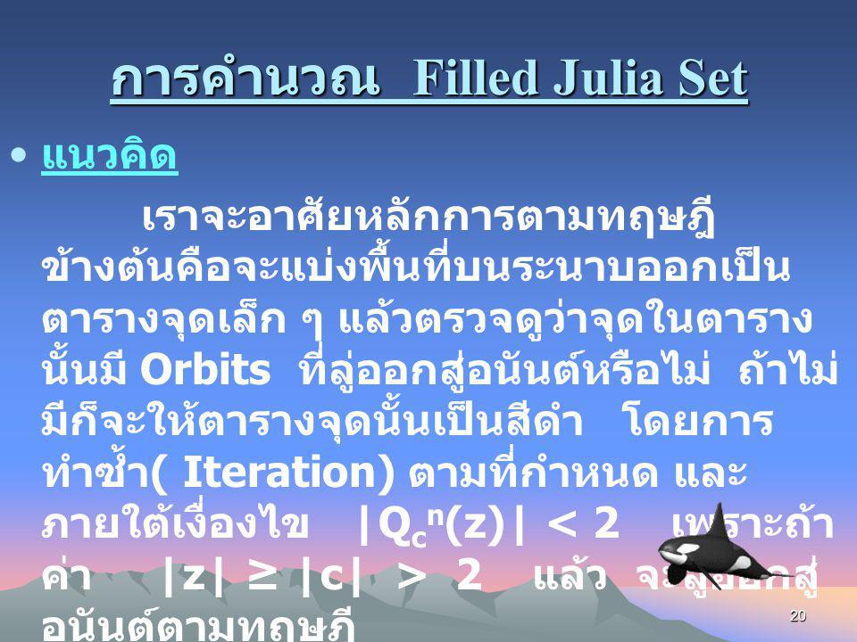การคำนวณ Filled Julia Set