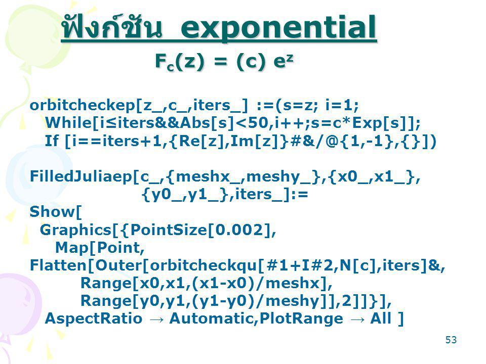 ฟังก์ชัน exponential Fc(z) = (c) ez