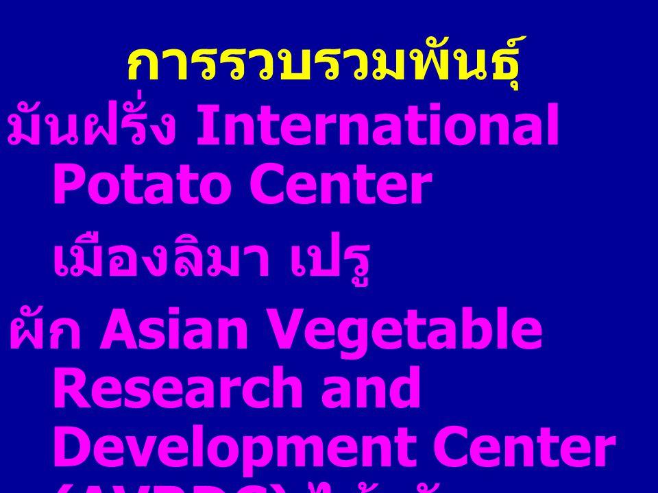 การรวบรวมพันธุ์ มันฝรั่ง International Potato Center. เมืองลิมา เปรู ผัก Asian Vegetable Research and Development Center (AVRDC) ไต้หวัน.