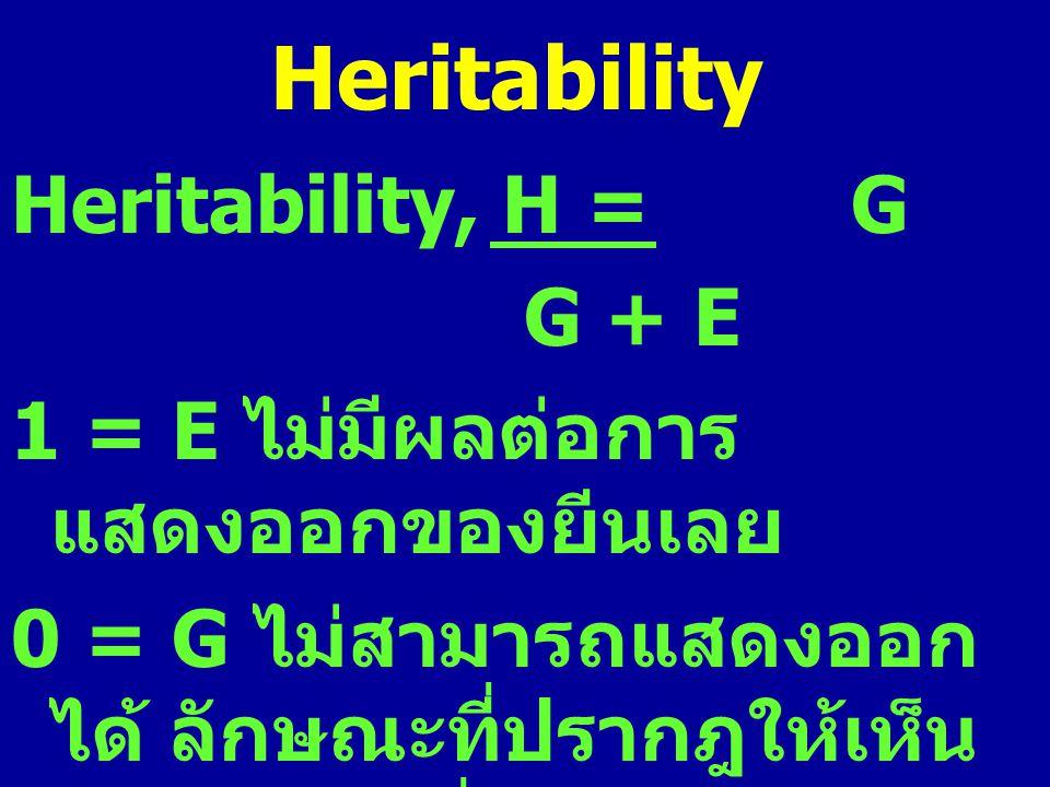 Heritability Heritability, H = G G + E