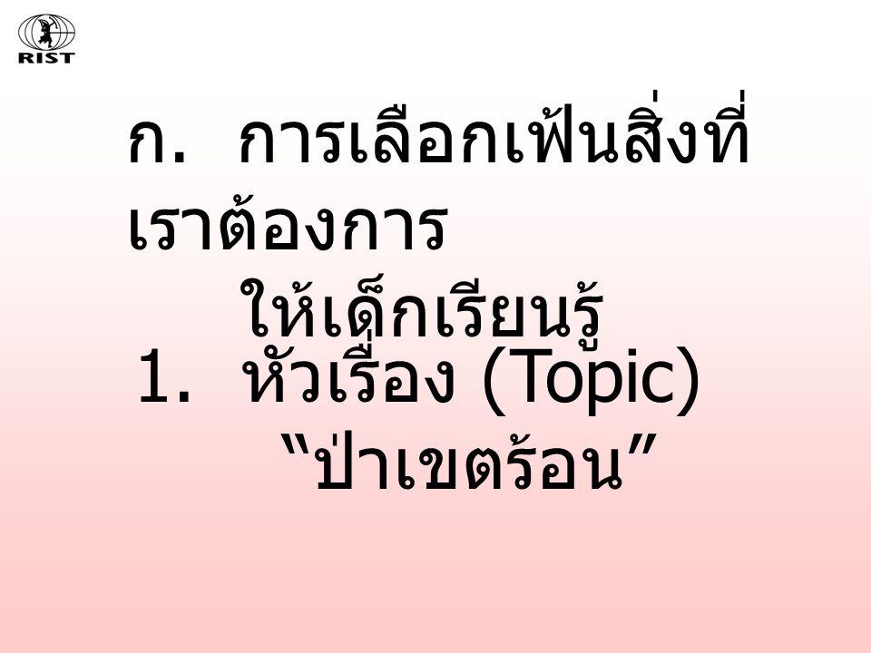 1. หัวเรื่อง (Topic) ป่าเขตร้อน