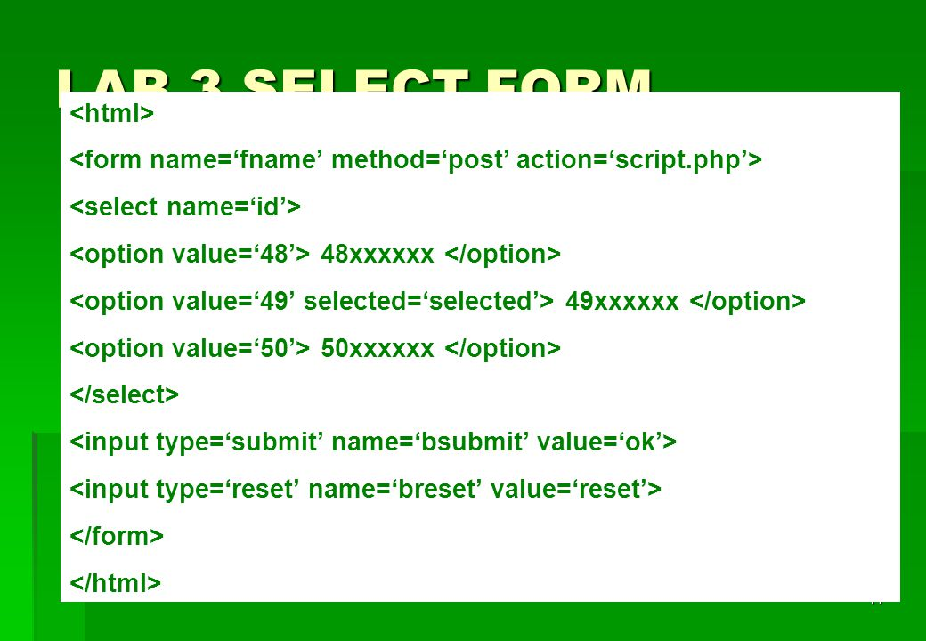 LAB 3 SELECT FORM <html>