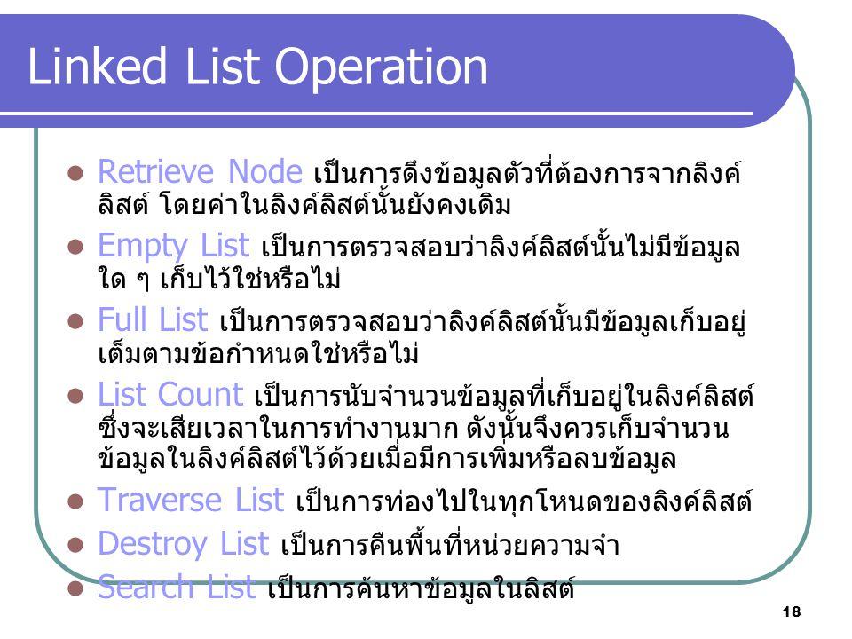 Linked List Operation Retrieve Node เป็นการดึงข้อมูลตัวที่ต้องการจากลิงค์ลิสต์ โดยค่าในลิงค์ลิสต์นั้นยังคงเดิม.
