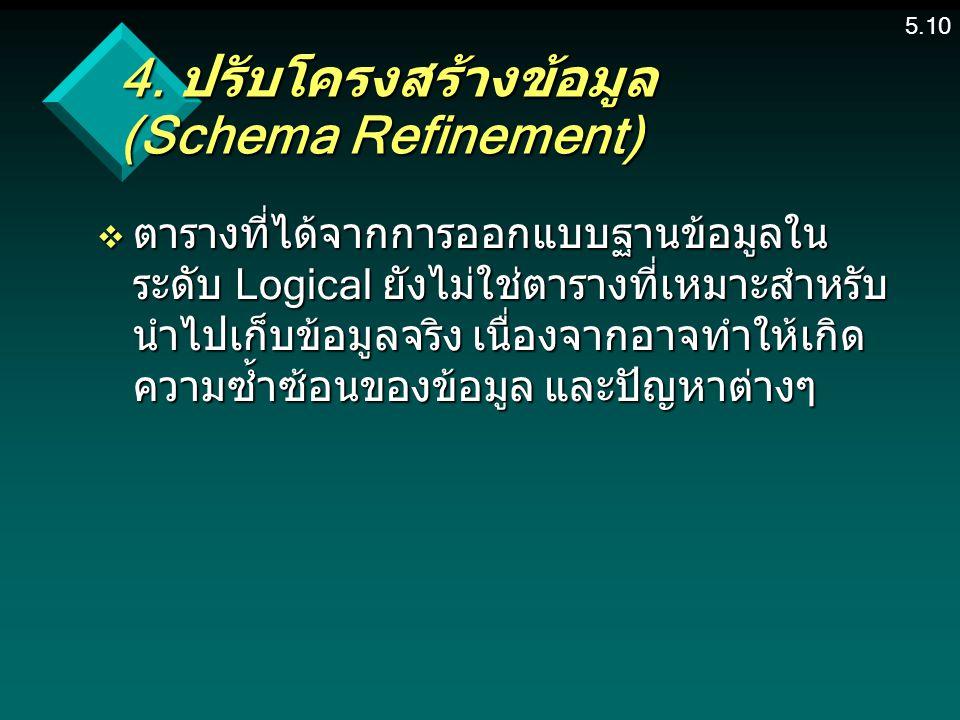 4. ปรับโครงสร้างข้อมูล (Schema Refinement)