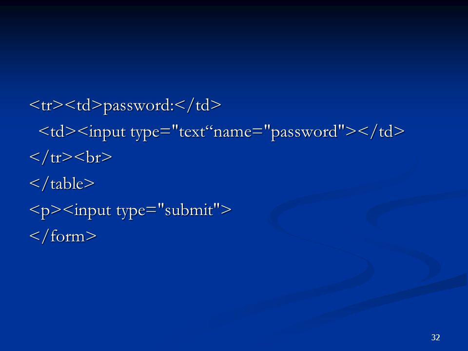 <tr><td>password:</td>