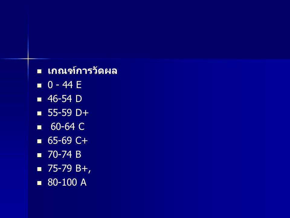 เกณฑ์การวัดผล 0 - 44 E 46-54 D 55-59 D+ 60-64 C 65-69 C+ 70-74 B 75-79 B+, 80-100 A