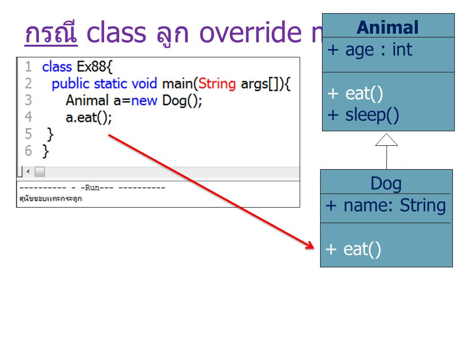 กรณี class ลูก override method