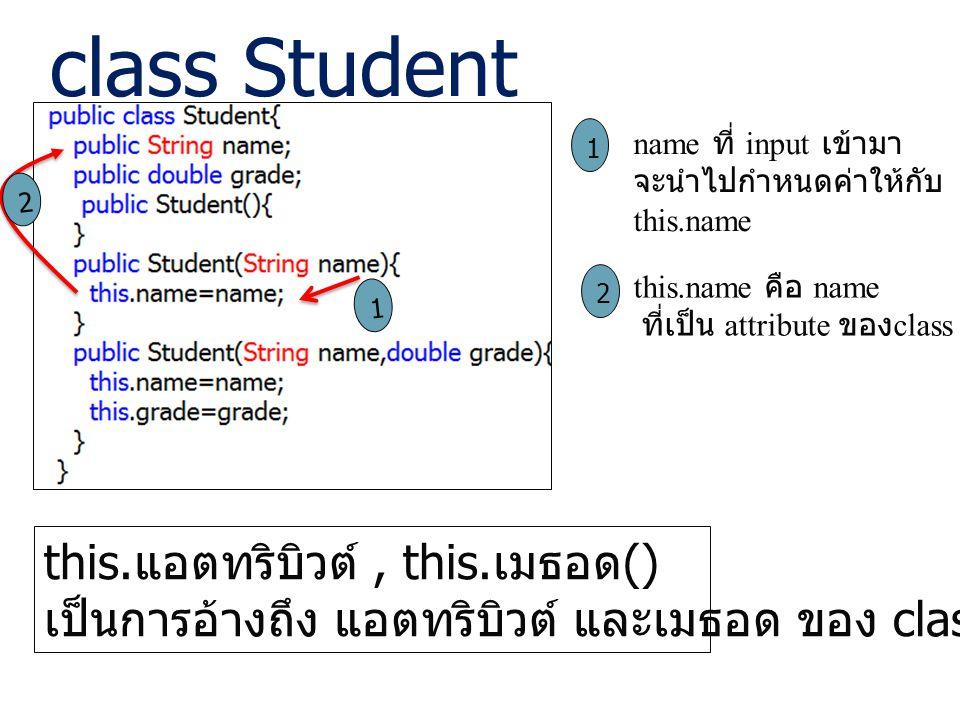 class Student this.แอตทริบิวต์ , this.เมธอด()