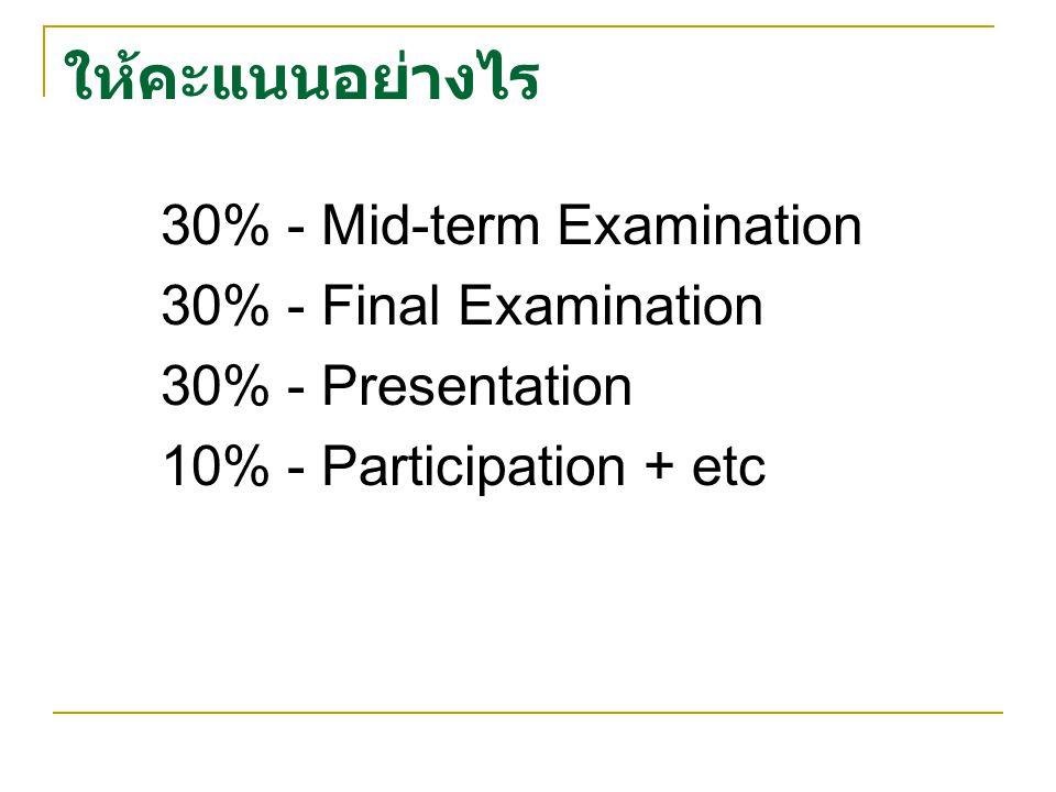 ให้คะแนนอย่างไร 30% - Mid-term Examination 30% - Final Examination