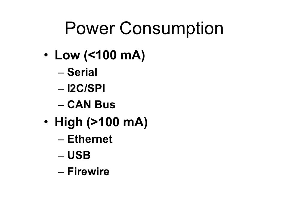 Power Consumption Low (<100 mA) High (>100 mA) Serial I2C/SPI
