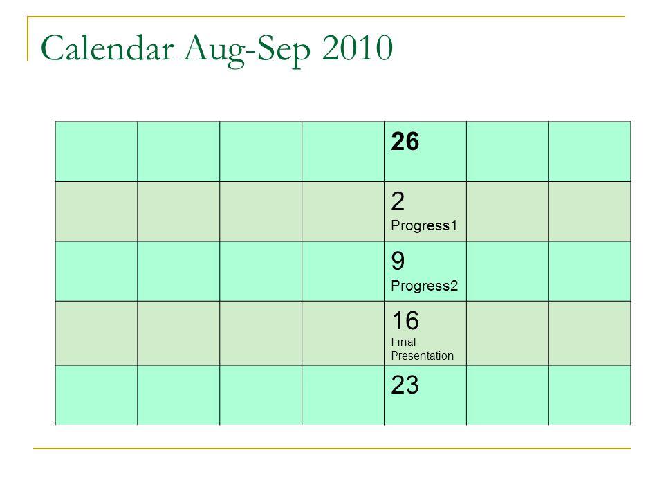 Calendar Aug-Sep 2010 26 2 9 16 23 Progress1 Progress2
