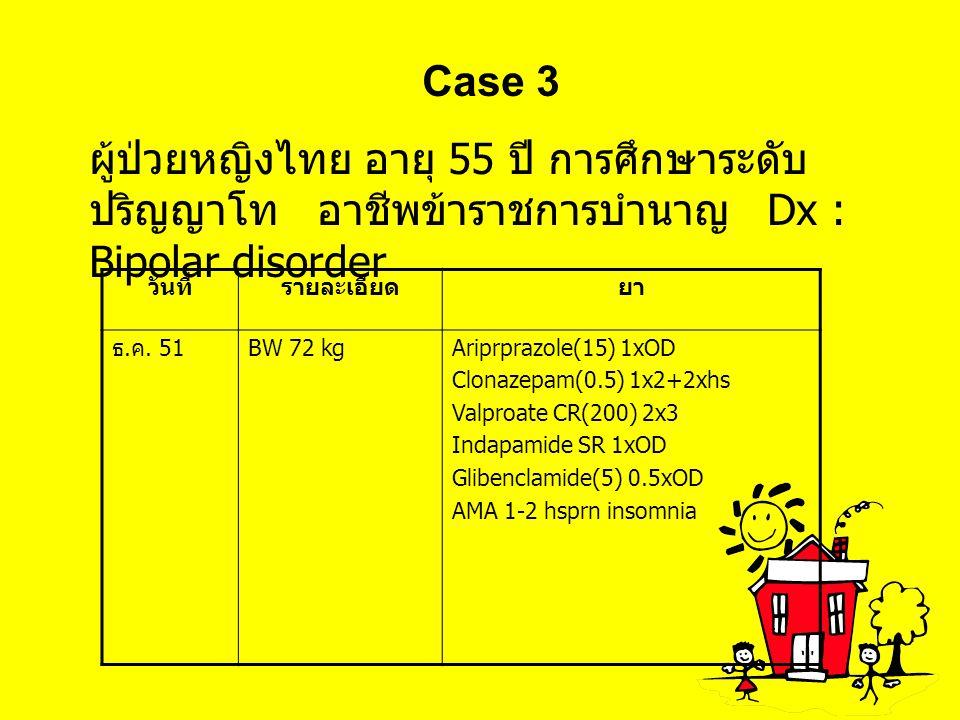 Case 3 ผู้ป่วยหญิงไทย อายุ 55 ปี การศึกษาระดับปริญญาโท อาชีพข้าราชการบำนาญ Dx : Bipolar disorder.