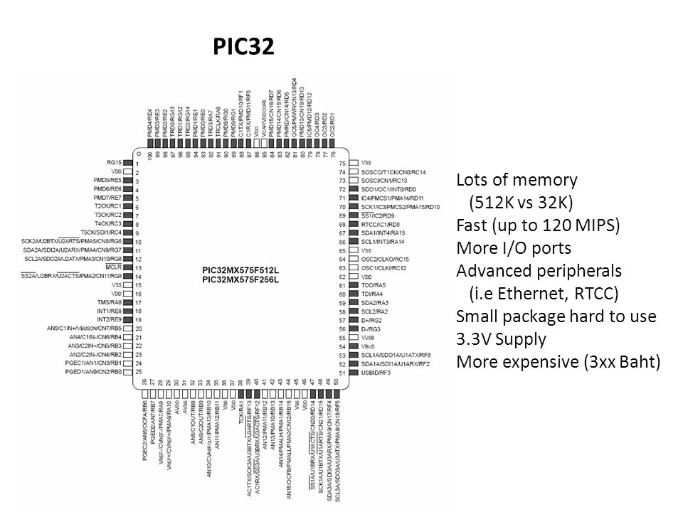 PIC32 Lots of memory (512K vs 32K) Fast (up to 120 MIPS)