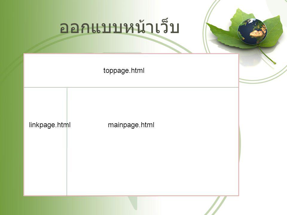 ออกแบบหน้าเว็บ toppage.html linkpage.html mainpage.html