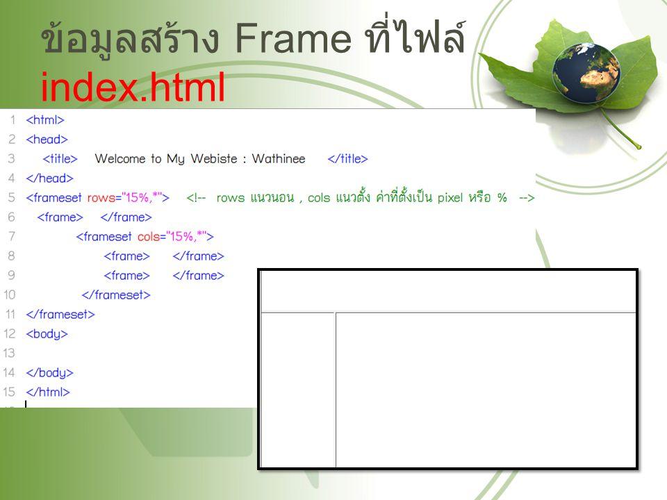 ข้อมูลสร้าง Frame ที่ไฟล์ index.html