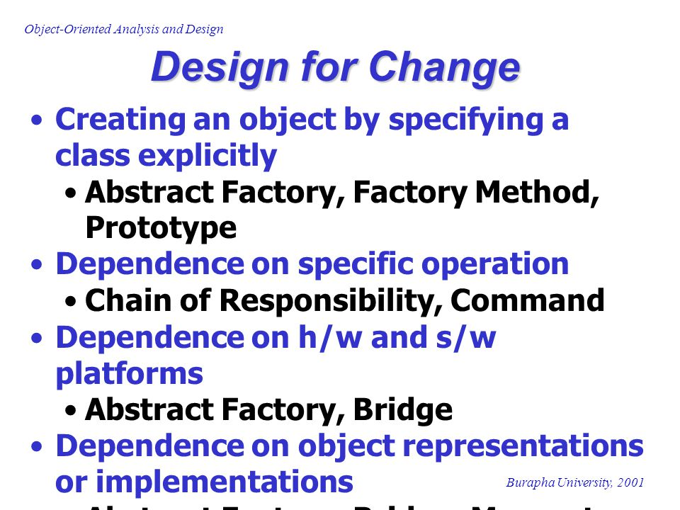 Design for Change Creating an object by specifying a class explicitly