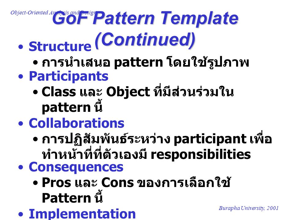 GoF Pattern Template (Continued)