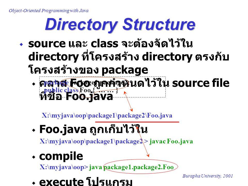 Directory Structure source และ class จะต้องจัดไว้ใน directory ที่โครงสร้าง directory ตรงกับโครงสร้างของ package.