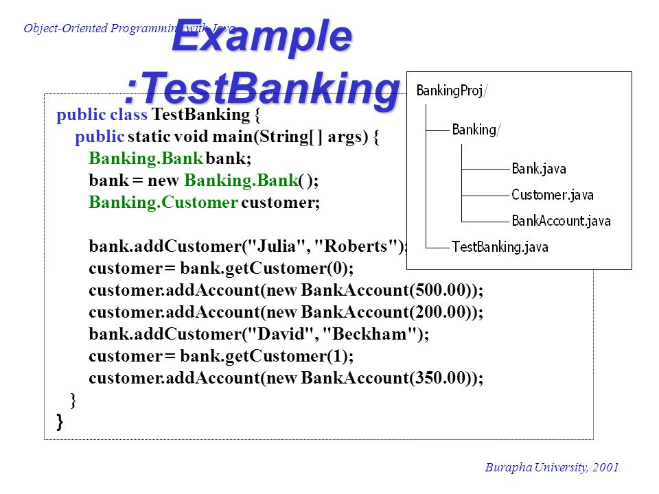 Example :TestBanking public class TestBanking {