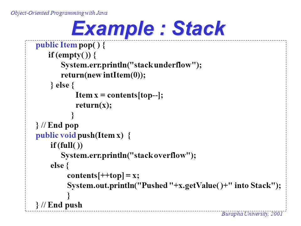 Example : Stack public Item pop( ) { if (empty( )) {