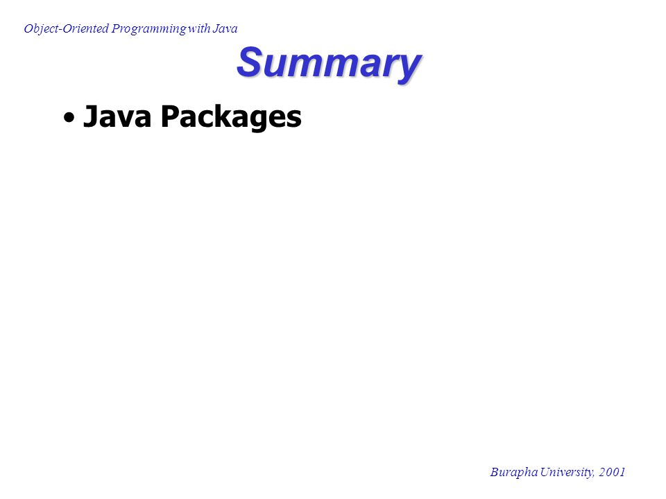 Summary Java Packages