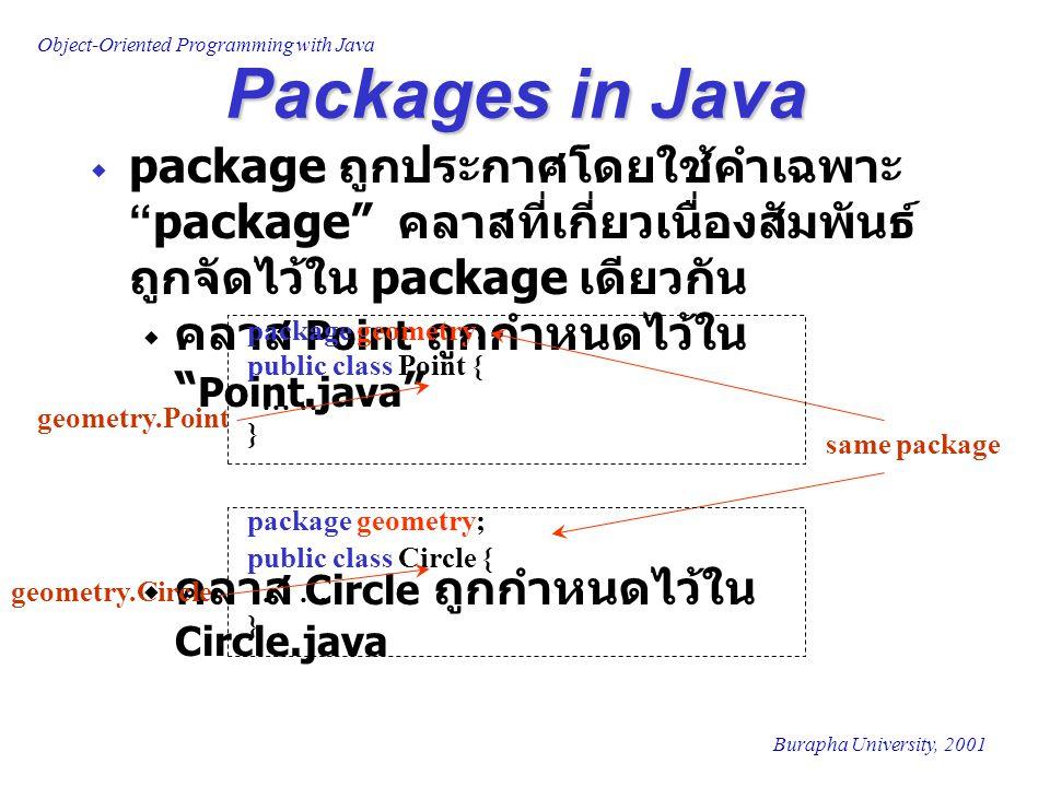 Packages in Java package ถูกประกาศโดยใช้คำเฉพาะ package คลาสที่เกี่ยวเนื่องสัมพันธ์ถูกจัดไว้ใน package เดียวกัน.