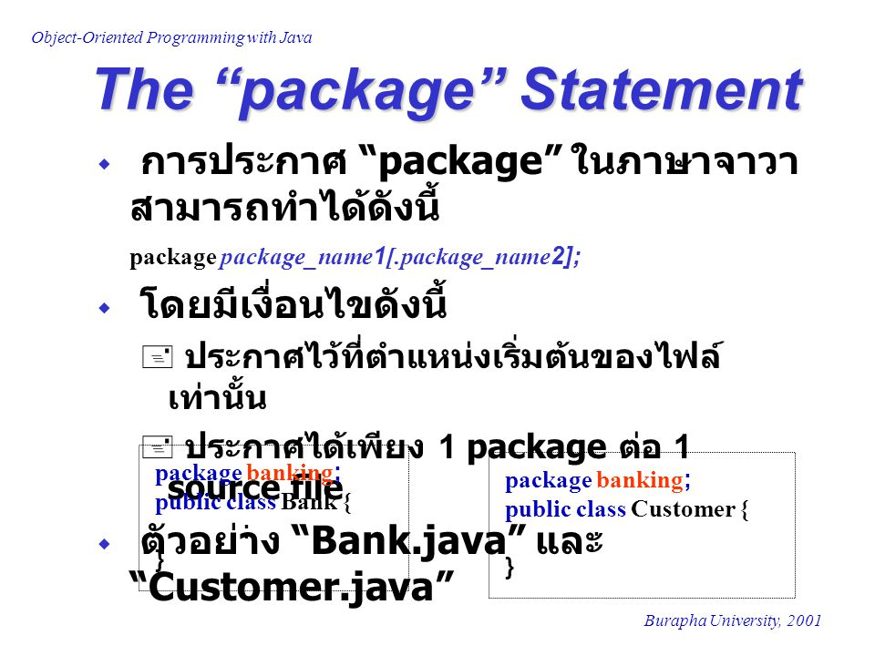The package Statement