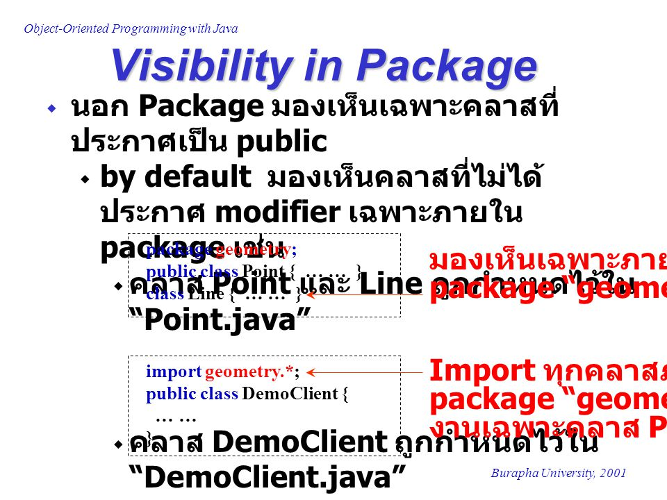 Visibility in Package นอก Package มองเห็นเฉพาะคลาสที่ประกาศเป็น public