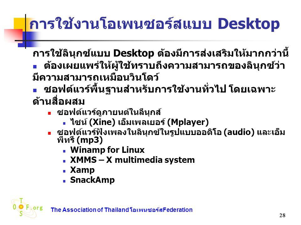 การใช้งานโอเพนซอร์สแบบ Desktop