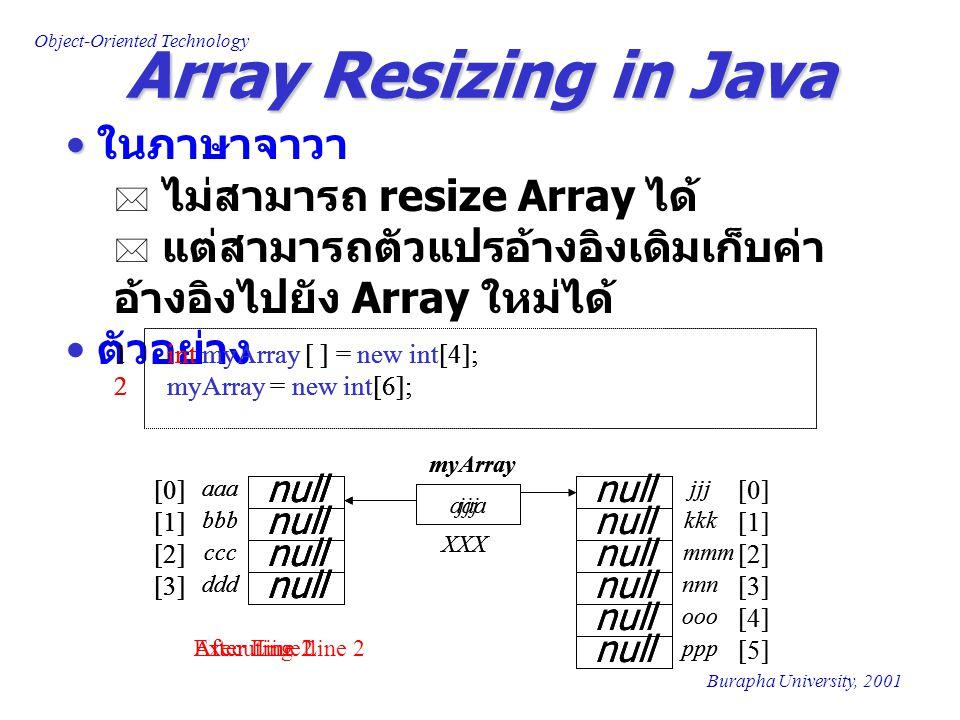 Array Resizing in Java ในภาษาจาวา ไม่สามารถ resize Array ได้