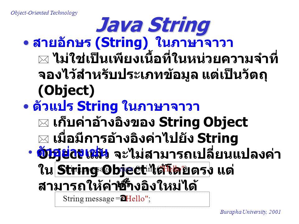 Java String สายอักษร (String) ในภาษาจาวา