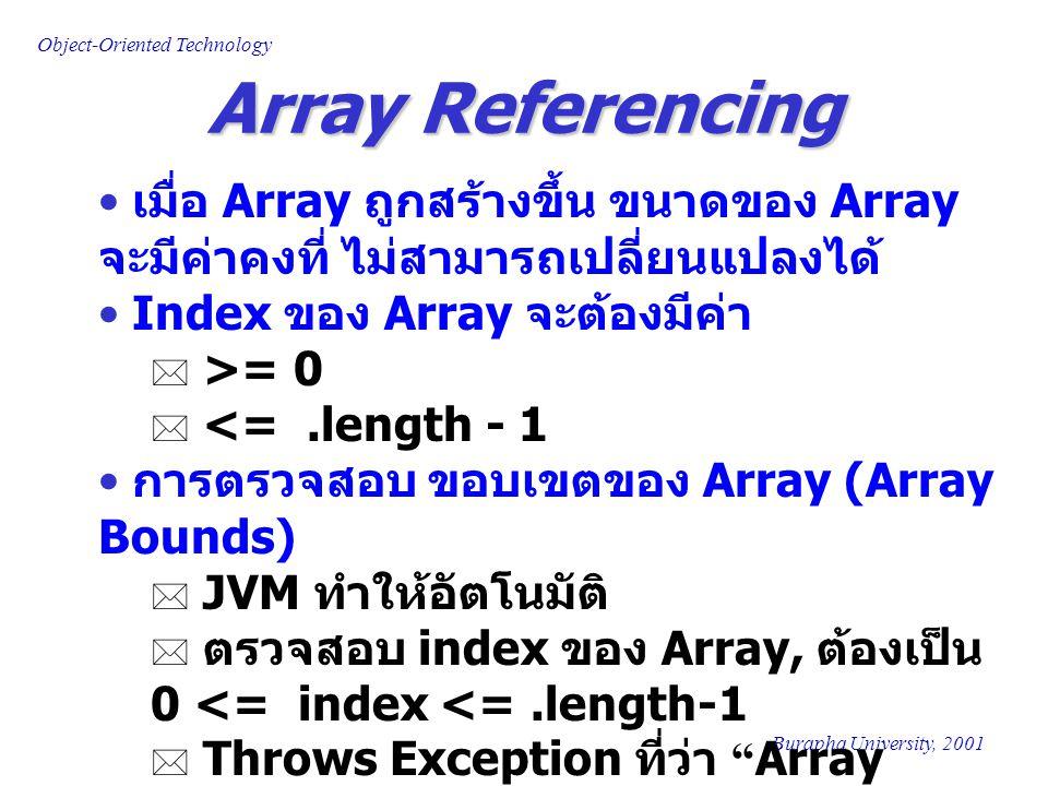 Array Referencing เมื่อ Array ถูกสร้างขึ้น ขนาดของ Array จะมีค่าคงที่ ไม่สามารถเปลี่ยนแปลงได้ Index ของ Array จะต้องมีค่า.