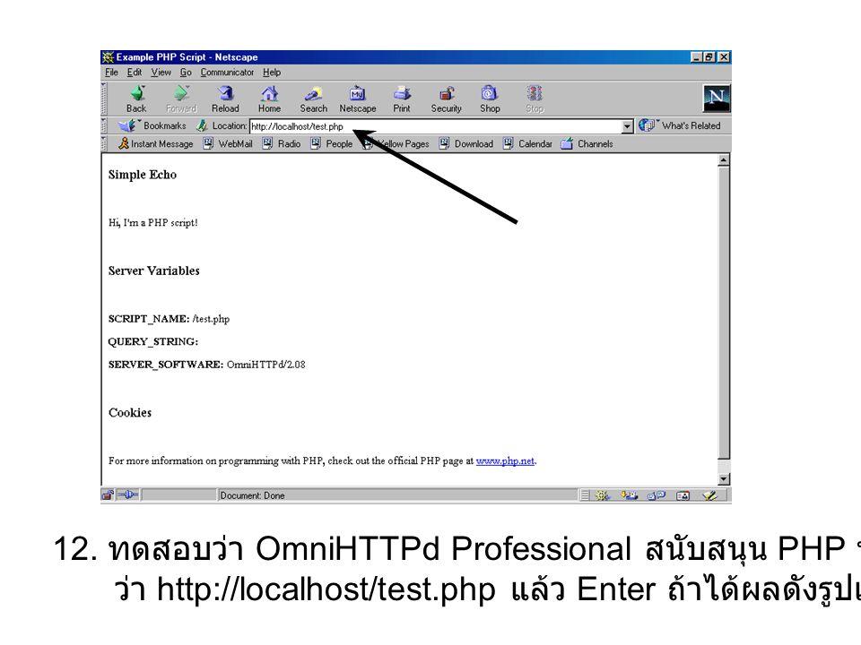 12. ทดสอบว่า OmniHTTPd Professional สนับสนุน PHP หรือไม่โดยการคีย์ URL