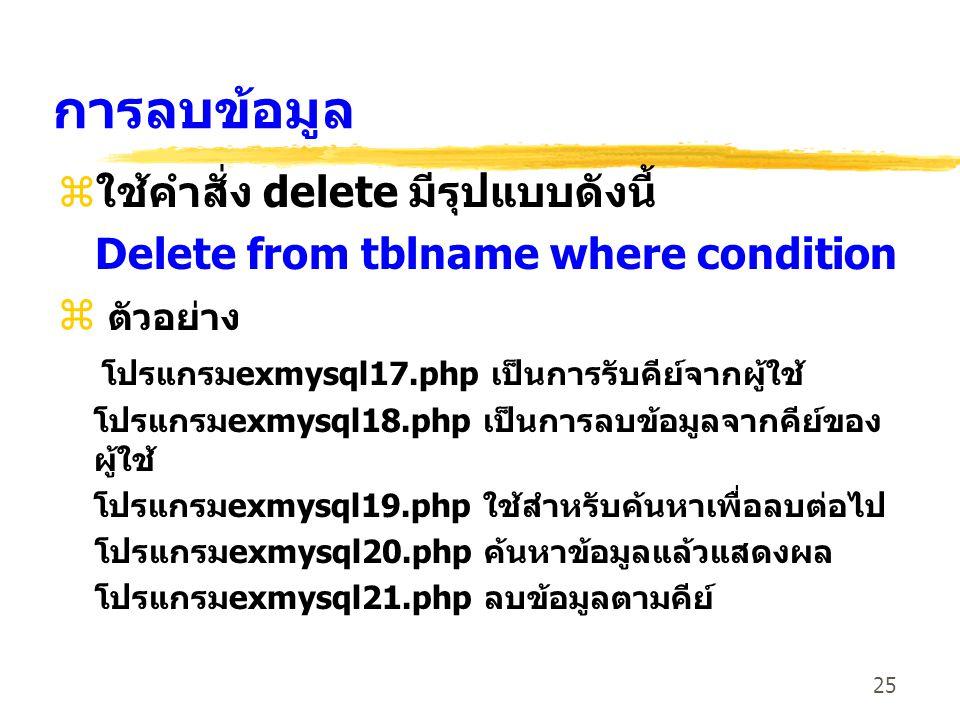 การลบข้อมูล ใช้คำสั่ง delete มีรุปแบบดังนี้