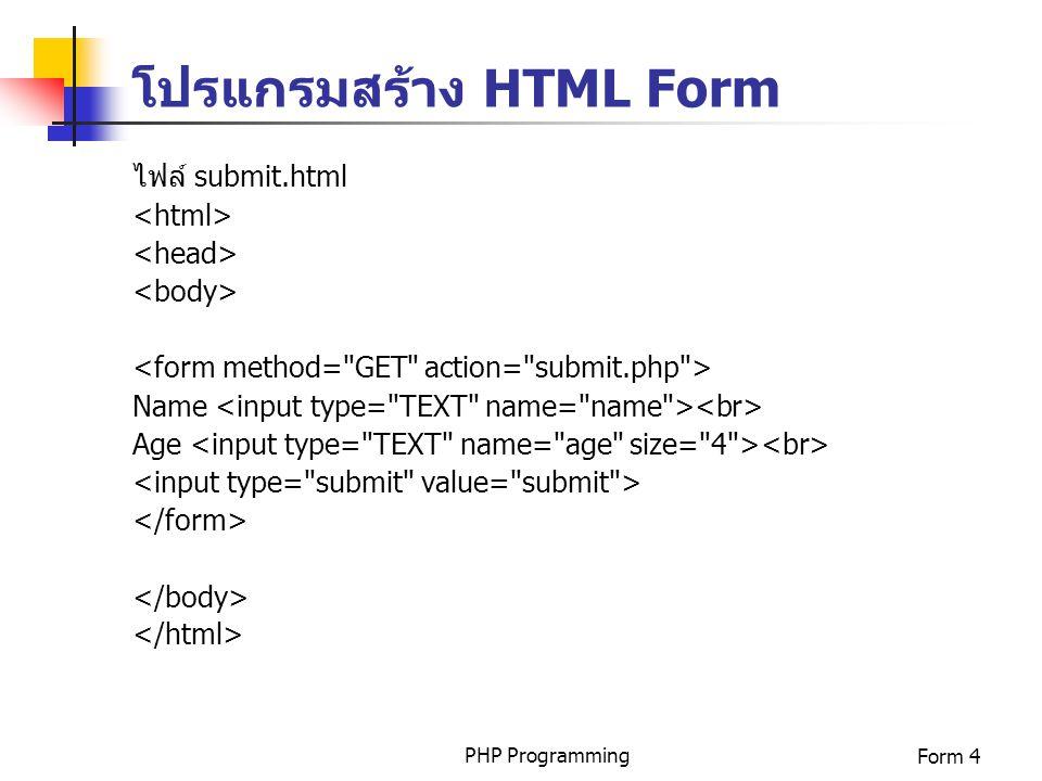 โปรแกรมสร้าง HTML Form