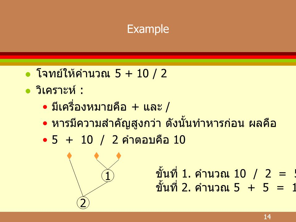 Example โจทย์ให้คำนวณ 5 + 10 / 2. วิเคราะห์ : มีเครื่องหมายคือ + และ / หารมีความสำคัญสูงกว่า ดังนั้นทำหารก่อน ผลคือ.